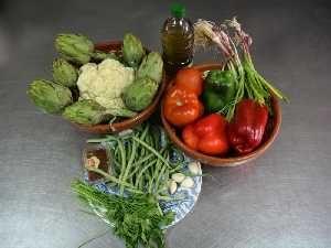 ingrédients arroz y verduras