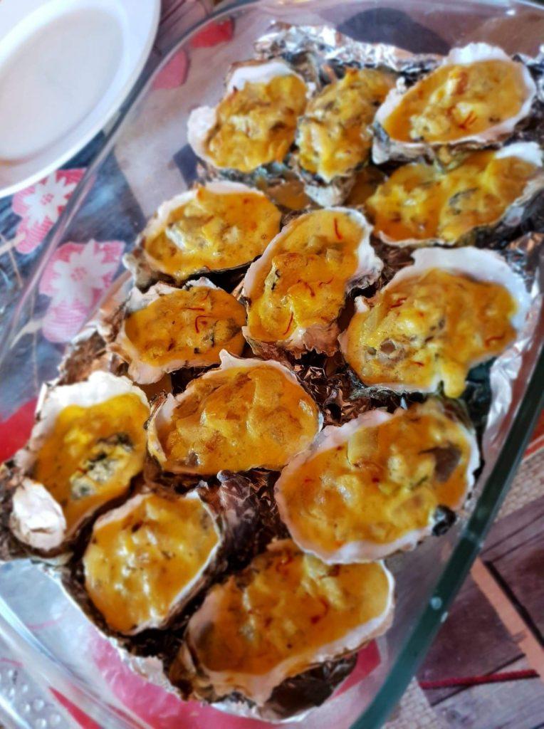huitres cuites safran creme