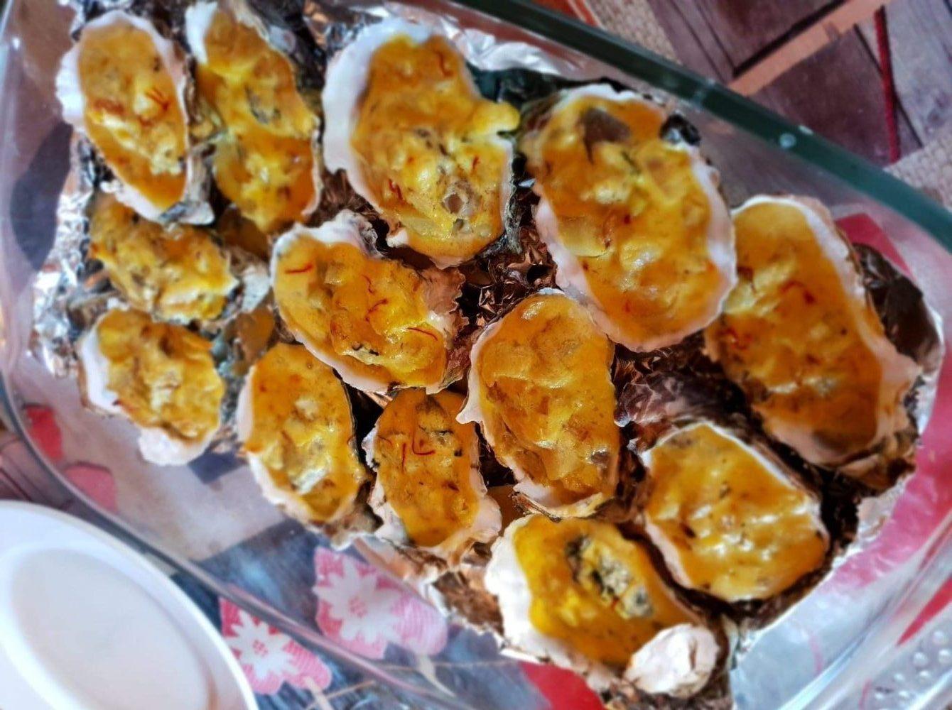 Huîtres au safran de la Mancha cuites au four