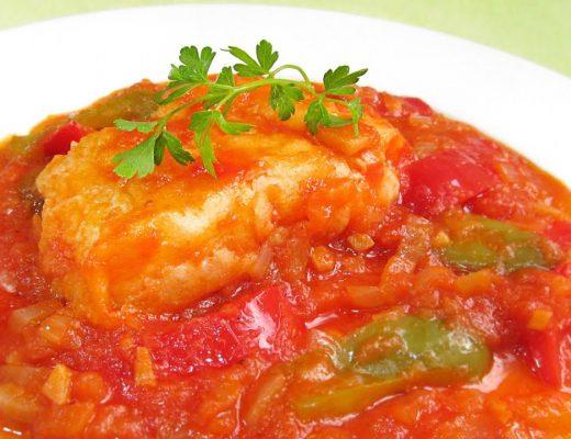 tomate et poivron cabillaud
