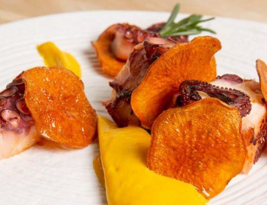poulpe à la patate douce et au safran